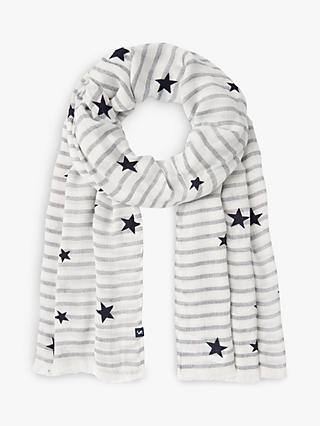Joules Corin Star and Stripe Scarf, Cream/Navy