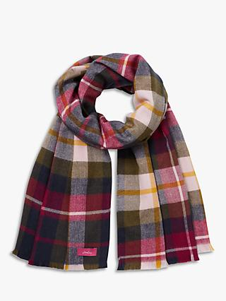 Joules Berkeley Check Print Scarf, Navy/Multi
