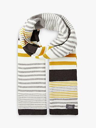 Joules Chill Away Stripe Scarf, Grey Marl/Multi