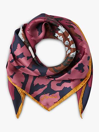 Joules Bloomfield Pheasant Print Square Silk Scarf, Purple Mix