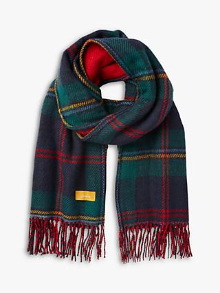 Joules Upton Check Fringe Scarf, Red/Multi