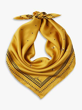 Joules Bloomfield Bee Print Square Silk Scarf, Yellow