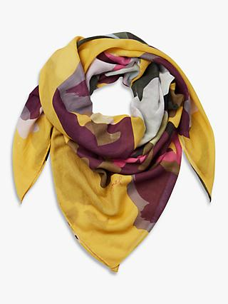 Joules Atmore Large Square Floral Cotton Scarf, Gold/Multi