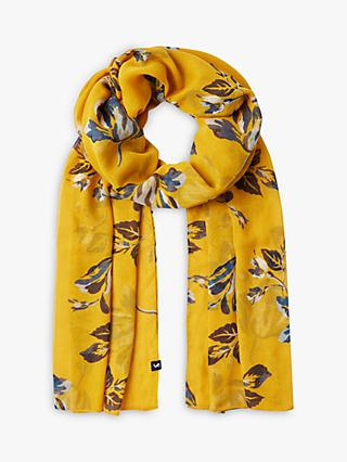 Joules Wensley Floral Print Sheer Scarf, Yellow Mix
