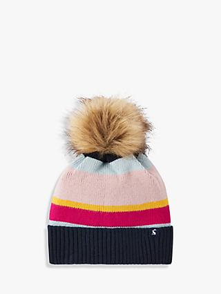 Joules Chill Away Wide Stripe Pom Pom Beanie Hat, Multi