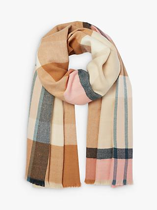 Joules Berkley Check Scarf, Tan/Multi