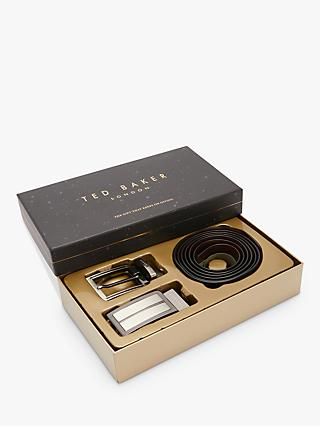 ff373469abc8f8 Ted Baker Flatter Reversible Leather Belt in a Box, One Size