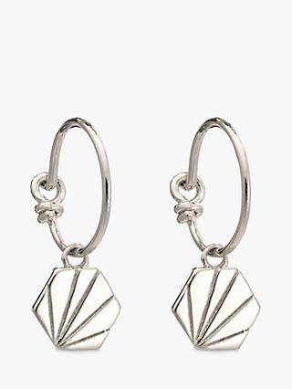 Rachel Jackson London Textured Hexagon Hoop Earrings, Silver