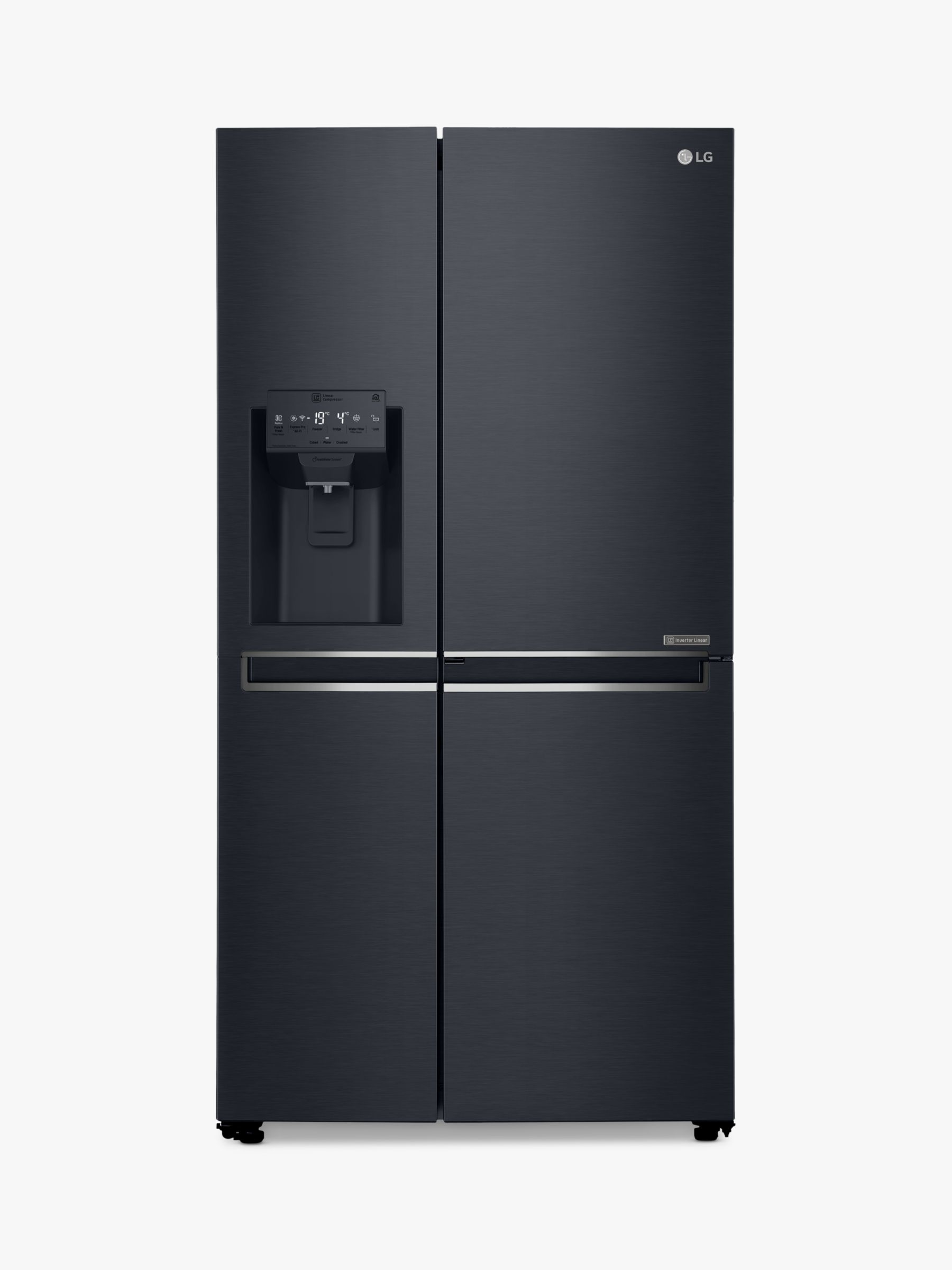 LG LG GSL760MCXV American Style Fridge Freezer, A+ Energy Rating, 91.2cm Wide, Plumbed Water and Ice Dispenser, Matte Black