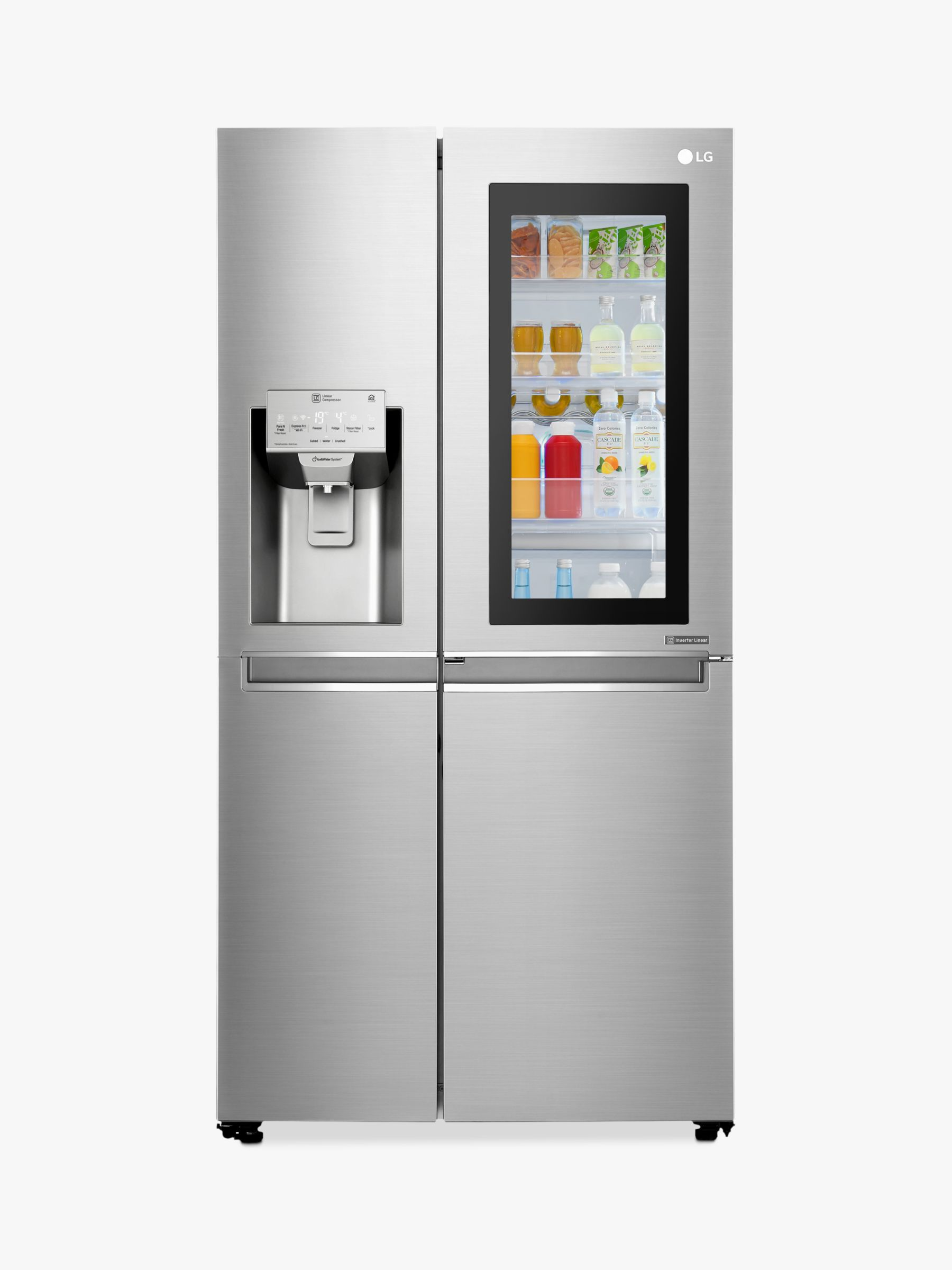 LG LG GSX960NSVZ InstaView Wi-Fi American Style Plumbed Water Filter Fridge Freezer, A++ Energy Rating, 91.2cm Wide, Premium Steel