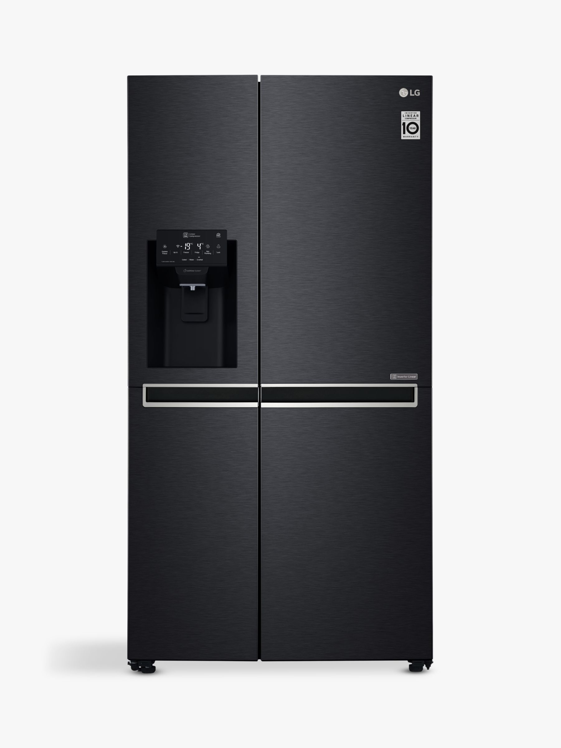 LG LG GSL761MCXV American Style Freestanding Fridge Freezer, A+ Energy Rating, 91.2cm Wide, Non-Plumbed Water and Ice Dispenser, Matte Black