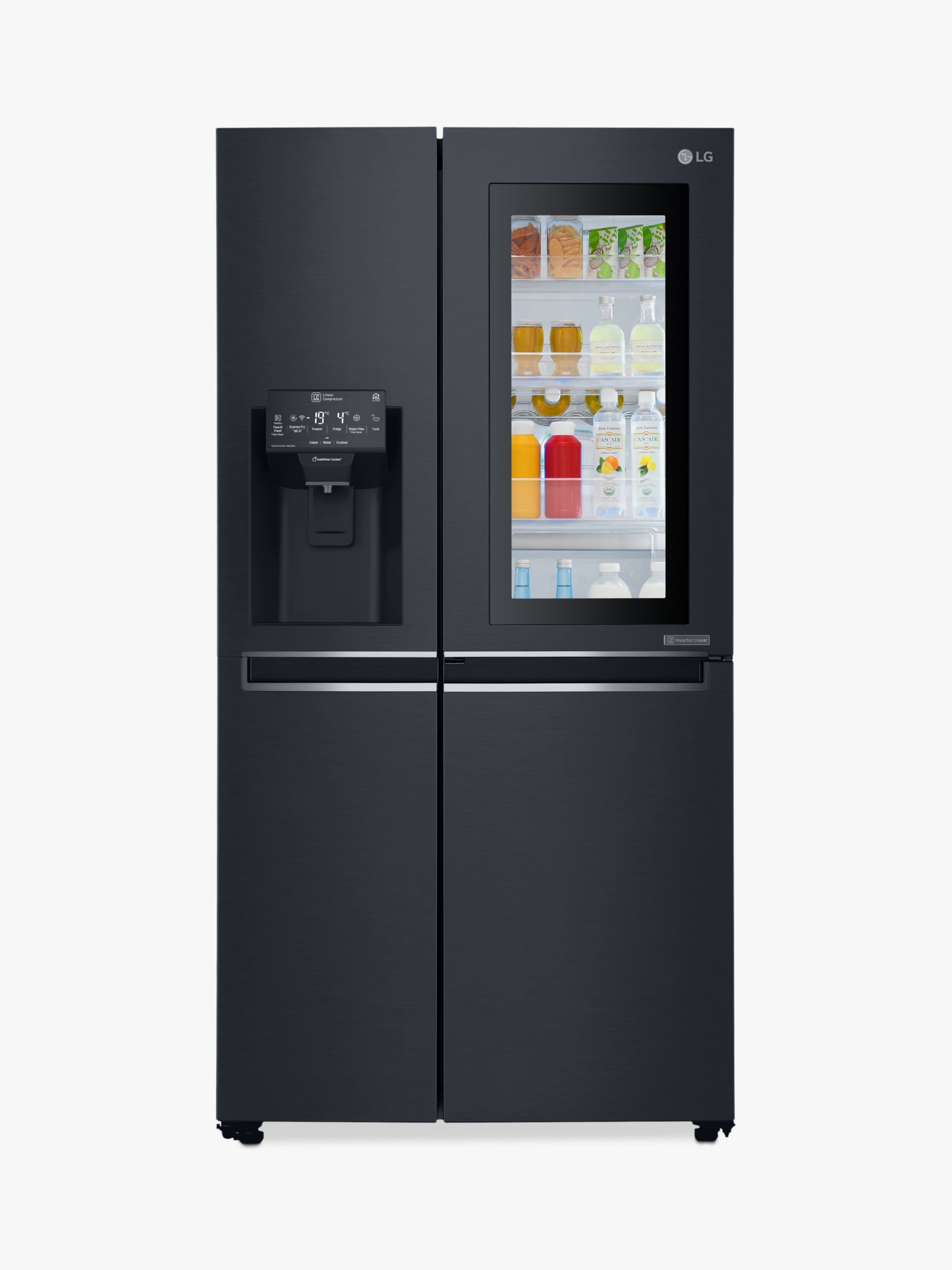 LG LG GSX960MCVZ InstaView Wi-Fi American Style Plumbed Water Filter Fridge Freezer, A++ Energy Rating, 91.2cm Wide, Matte Black