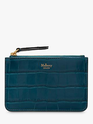 Mulberry Croc Embossed Leather Zip Coin Pouch
