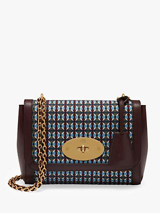 Mulberry Lily Printed Dots Shoulder Bag, Dark Moss