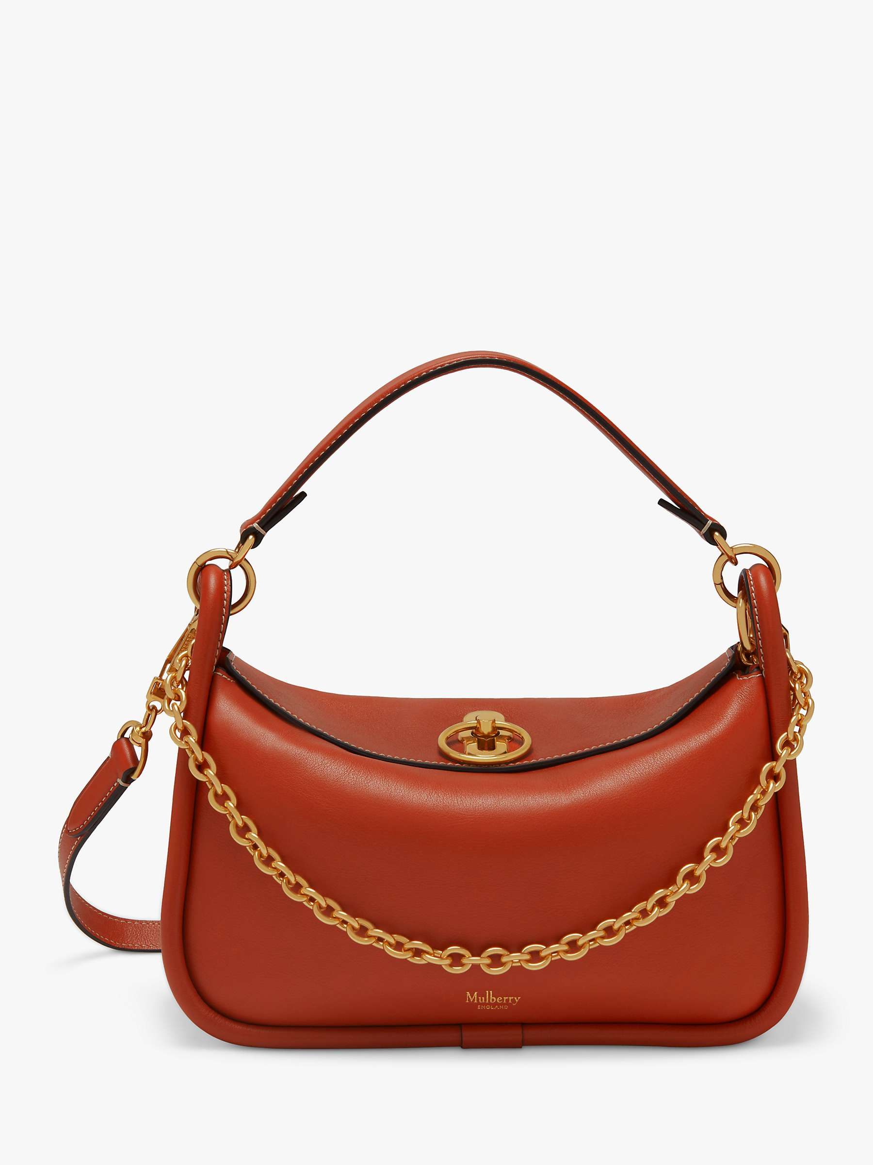 available footwear authentic quality Mulberry Small Leighton Silky Calf Leather Shoulder Bag, Rust