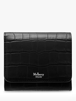 Mulberry Small Continental French Purse, Black Matte Croc