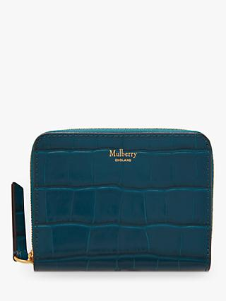 Mulberry Croc Embossed Leather Zip Around Purse, Nautical Blue