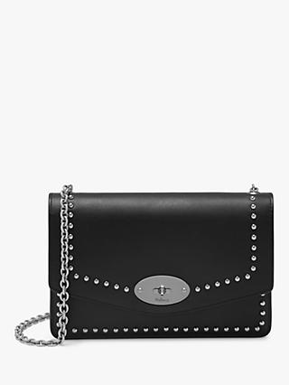 ef92ba8a39 Mulberry Small Darley Shiny Calf Leather Rivet Cross Body Bag, Black