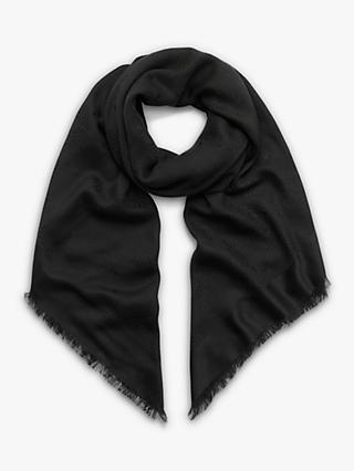 Mulberry Tree Silk & Cotton Square Scarf, Black