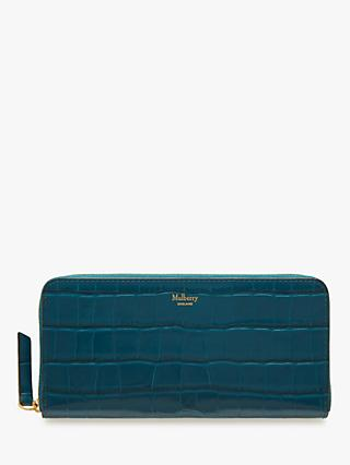 Mulberry Croc Effect Leather 8 Card Zip Around Wallet, Nautical Blue