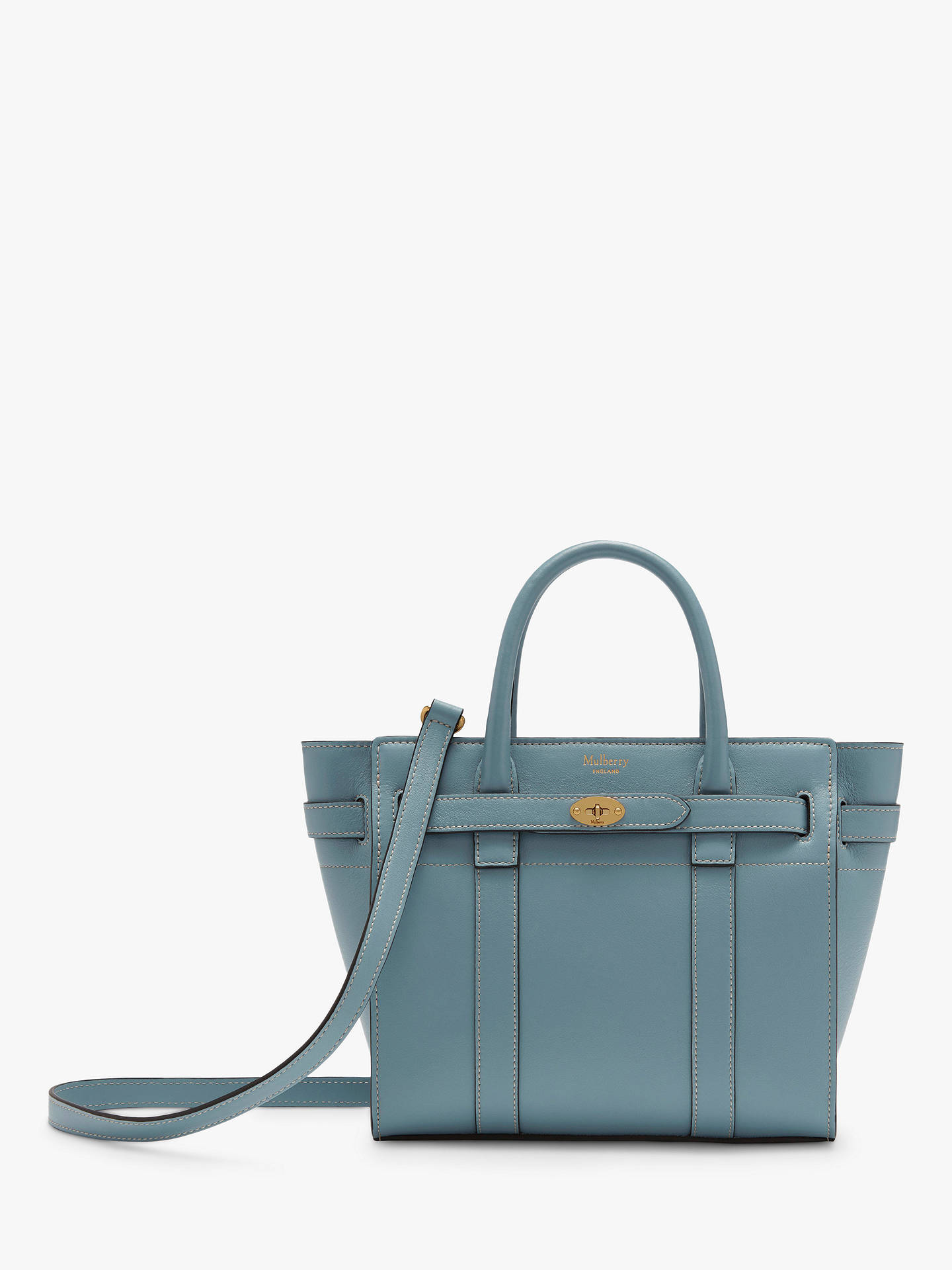 8251cab3f8 Mulberry Mini Bayswater Zipped Silk Calf's Leather Tote Bag, Nordic Blue