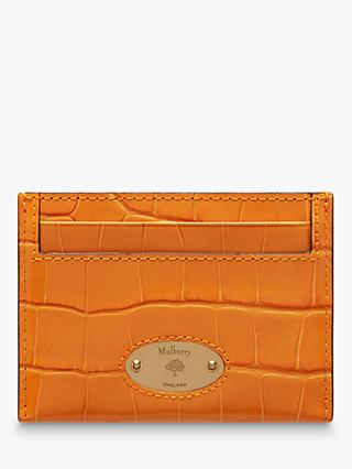 Mulberry Plaque Croc Effect Leather Credit Card Slip, Autumn Gold