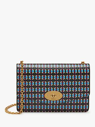 Mulberry Small Darley Printed Saffiano Leather Cross Body Bag, Dark Moss/Multi Dots