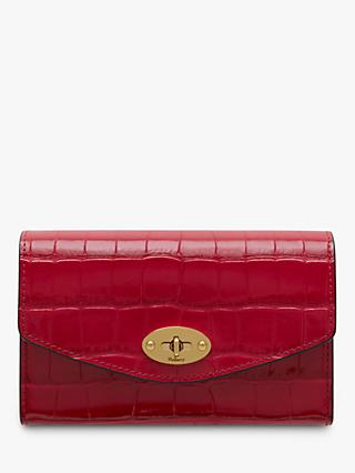 Mulberry Darley Croc Print Leather Medium Wallet, Red Berry