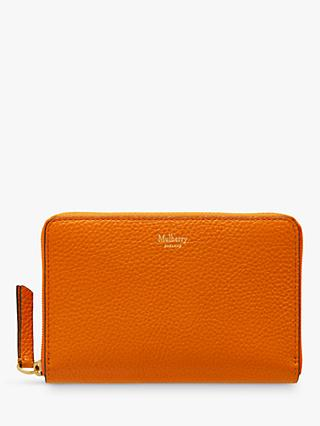 Mulberry Medium Small Classic Grain Leather Zip Around Wallet, Autumn Gold