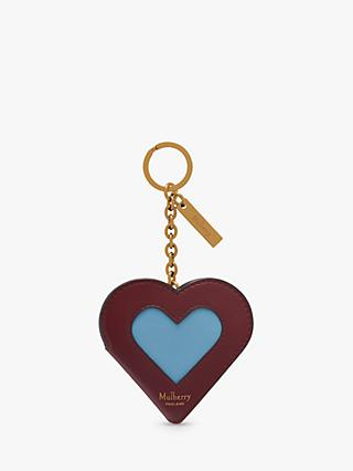 Mulberry Cross Grain Leather Heart Portrait Keyring
