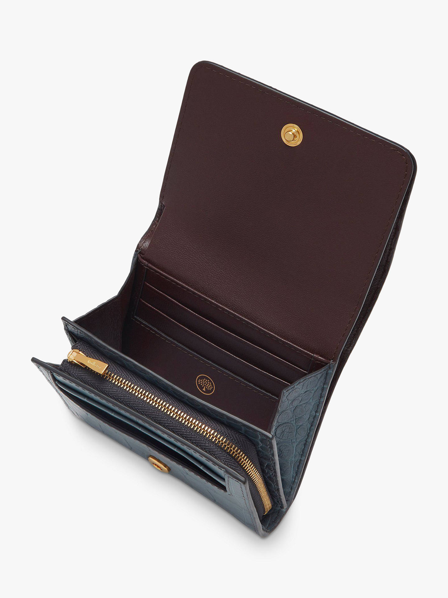 Buy Mulberry Plaque Croc Embossed Leather Small French Wallet, Dark Stone Online at johnlewis.com