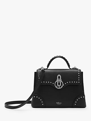93a90deaaa2662 Mulberry Mini Seaton Classic Grain Leather Rivets Shoulder Bag, Black