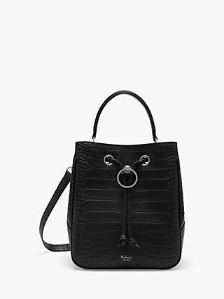 87c3b3ac8e9a Mulberry Hampstead Matte Croc Embossed Leather Handbag, Black