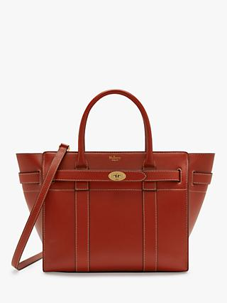 Mulberry Small Bayswater Zipped Silky Calf Leather Tote Bag