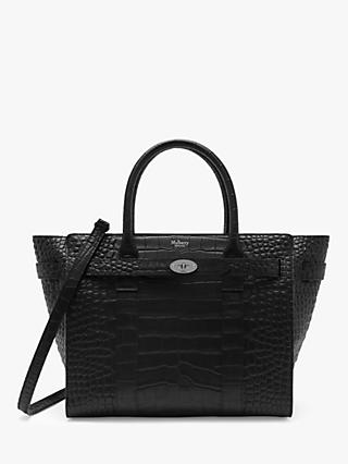 bc7ce10f3888 Mulberry Small Bayswater Zipped Croc Embossed Leather Bag, Black/Silver