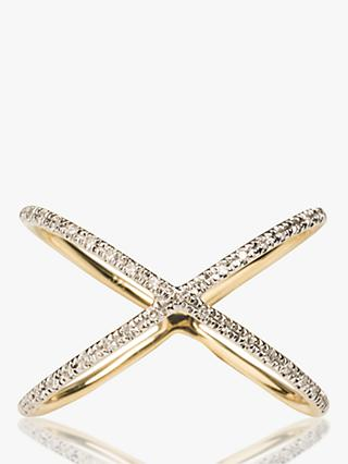 Emily Mortimer 9ct Gold Nova Cross Over Diamond Ring