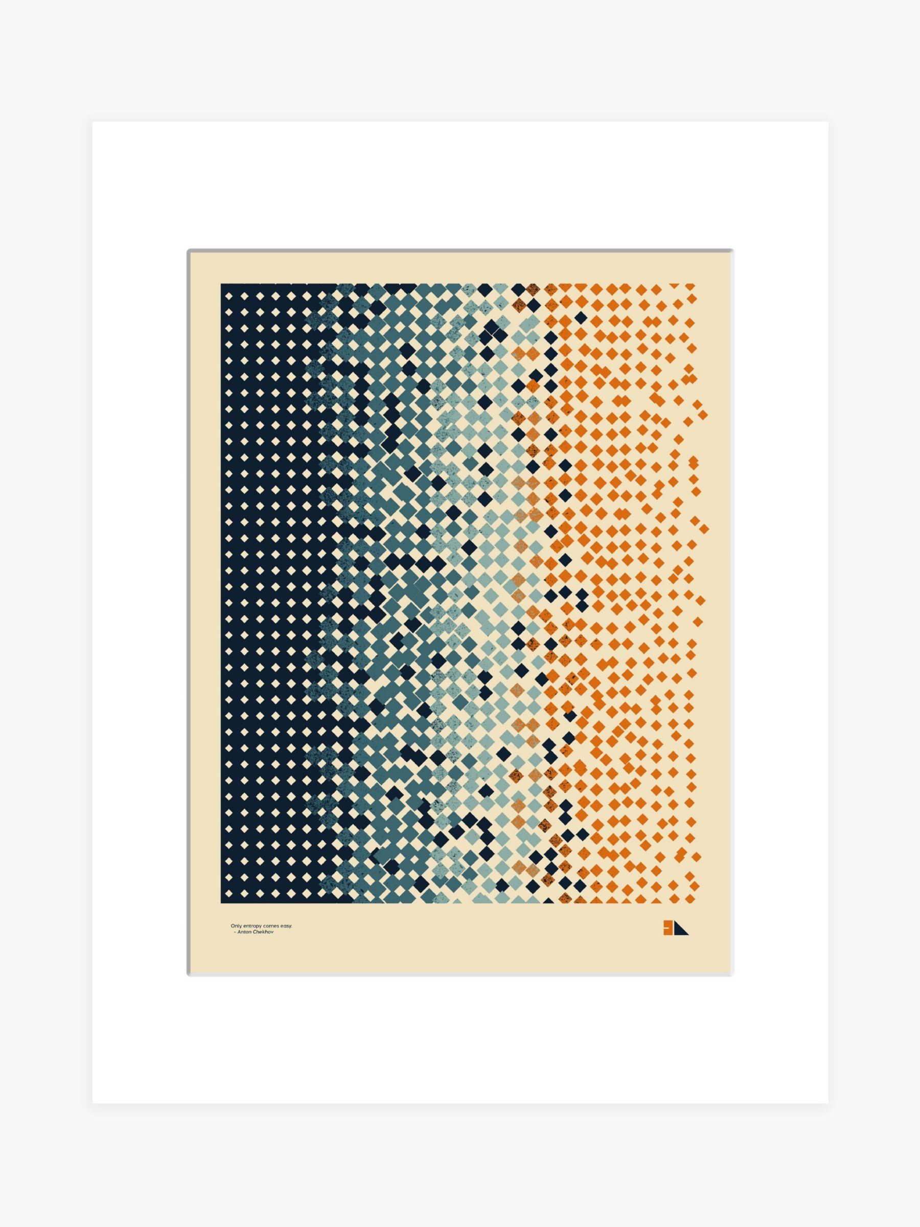 Unbranded Justin Van Genderen - Entropy Unframed Print & Mount, 40 x 30cm, Blue/Red