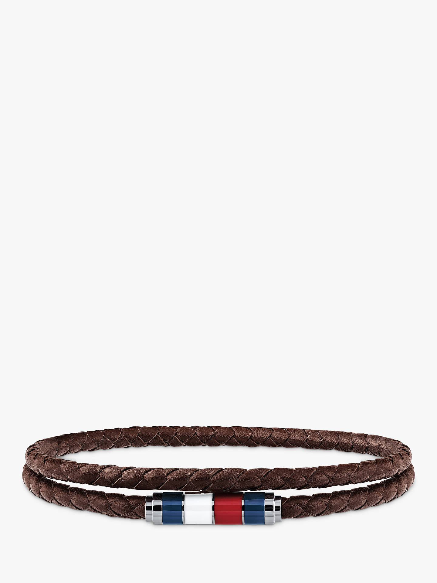 9a711e7a3ccf8 Tommy Hilfiger Men's Double Leather Bracelet, Silver/Brown