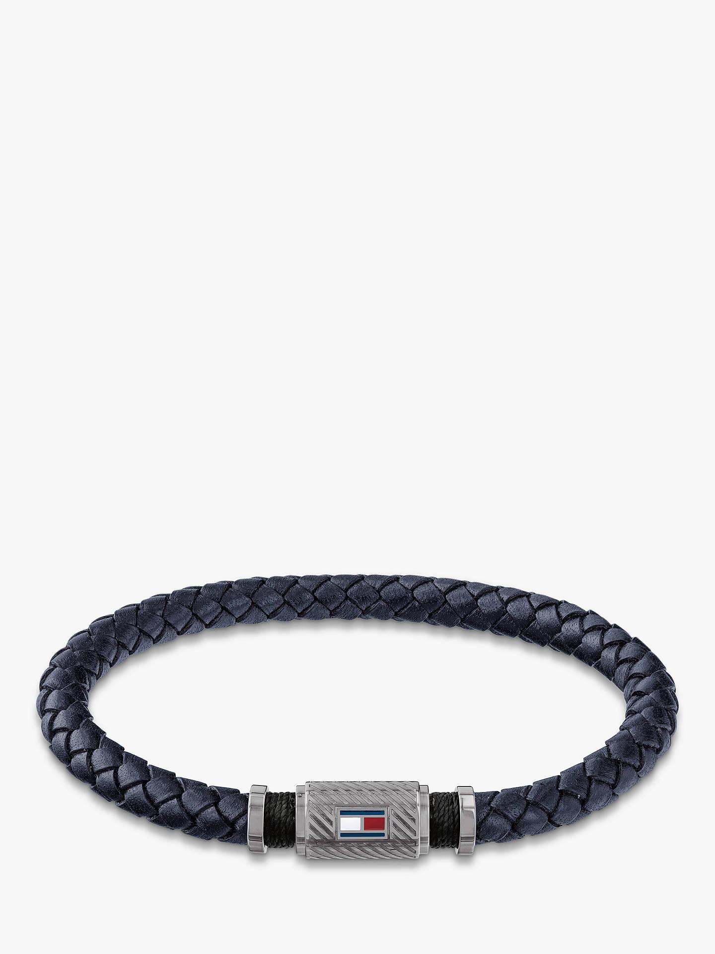 84ba113e65cd6 Tommy Hilfiger Men's Rivet Woven Leather Bracelet, Silver/Navy