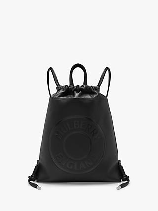Mulberry Drawstring Leather Backpack, Black
