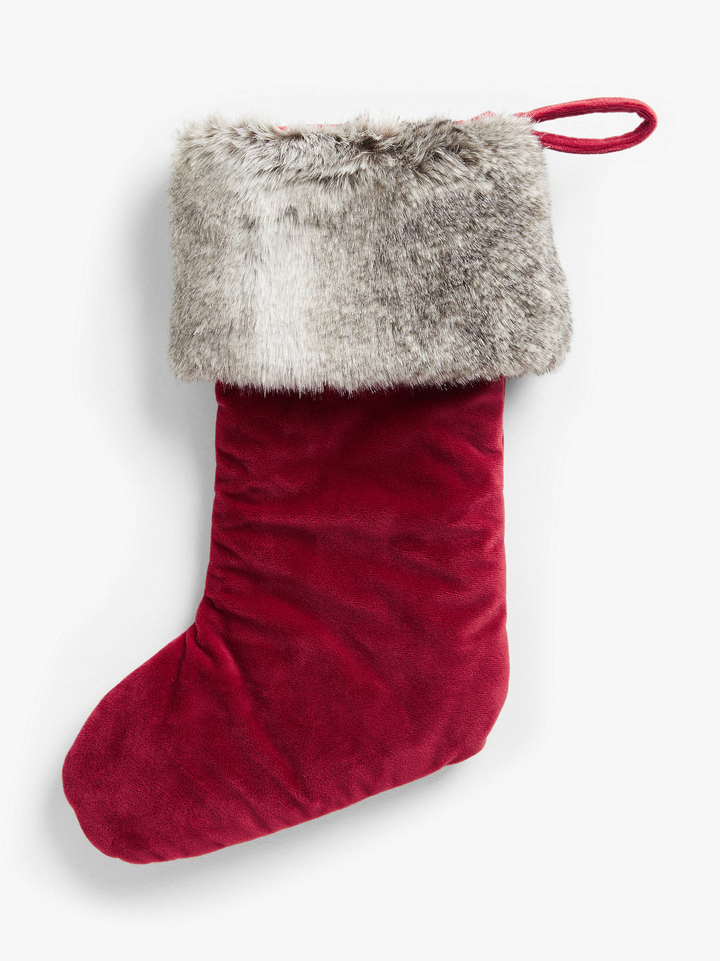 Bed Bath And Beyond Christmas Stockings.John Lewis Partners Traditions Faux Fur Trim Velvet Christmas Stocking Red Grey