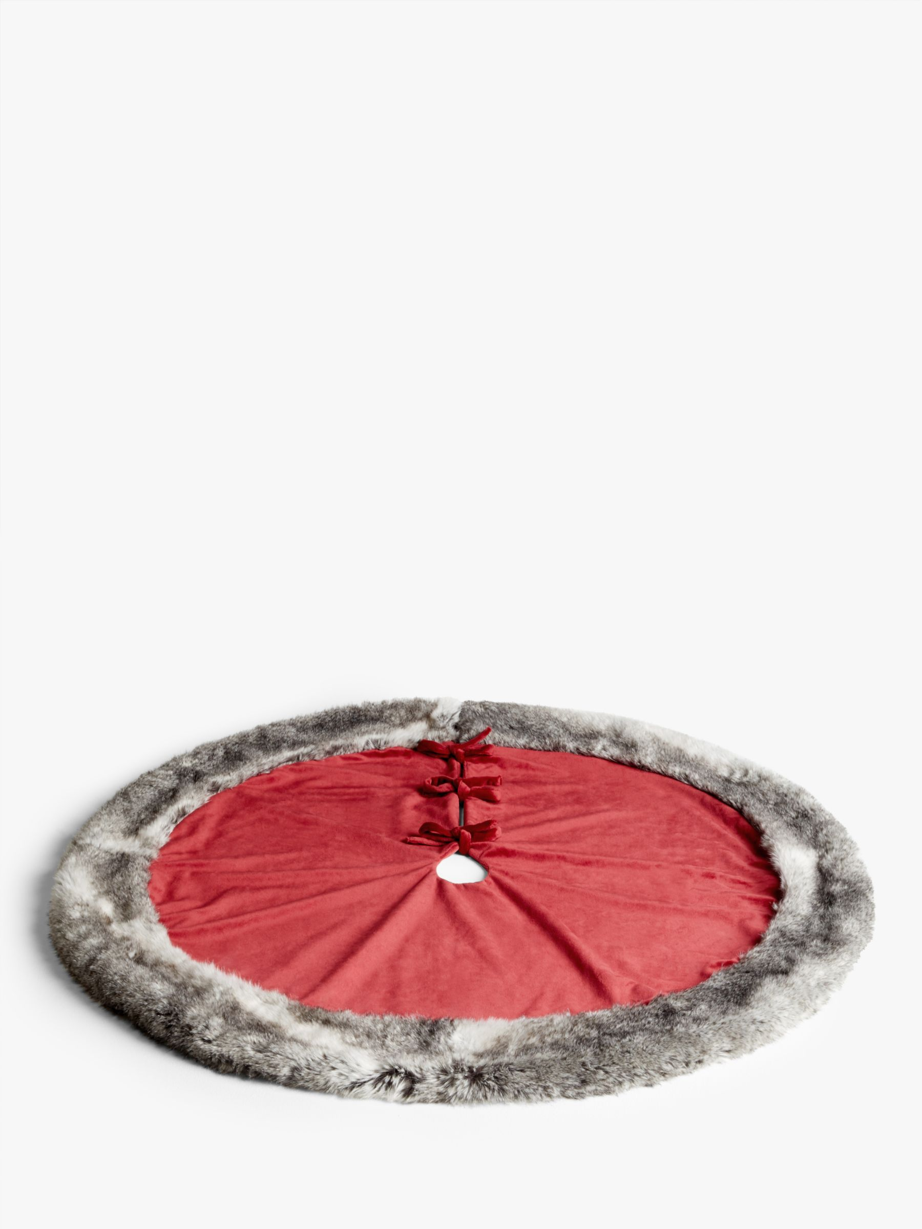 John Lewis Partners Traditions Faux Fur Trim Tree Skirt Red Grey At John Lewis Partners