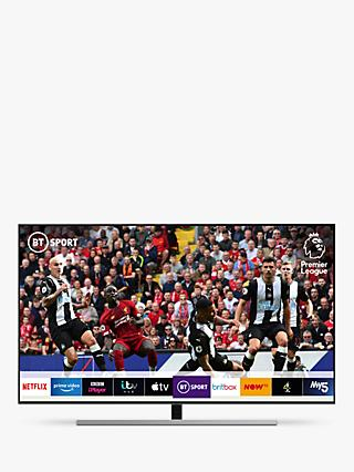 "Samsung QE55Q80R (2019) QLED HDR 1500 4K Ultra HD Smart TV, 55"" with TVPlus/Freesat HD & Apple TV App, Eclipse Silver"