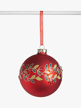 John Lewis & Partners Traditions Glitter Leaves Bauble, Red