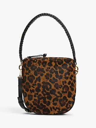 AND/OR Satillo Leather Shoulder Bag, Leopard Effect