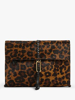 AND/OR Casas Leather Pouchette Clutch Bag, Leopard Effect