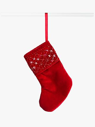 John Lewis & Partners Traditions Velvet Stocking Tree Decoration, Red