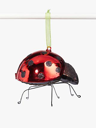 John Lewis & Partners Garden Retreat Ladybird Tree Decoration, Red