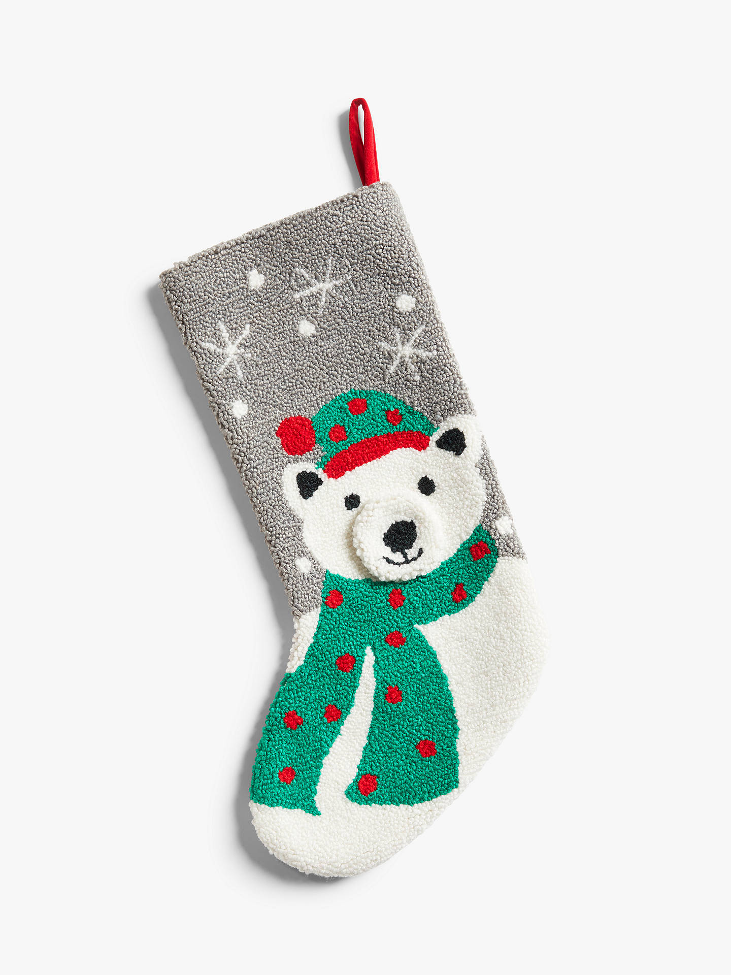 John Lewis & Partners ABC Boucle Polar Bear Christmas Stocking, Multi