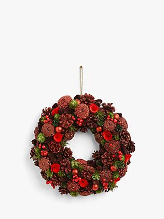 John Lewis & Partners Traditions Glitter Pine Cone Wreath, Red